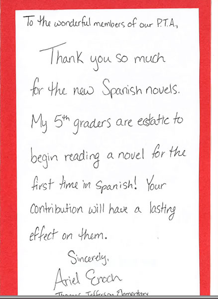 Falls Church City Elementary Pta  Thank You Notes