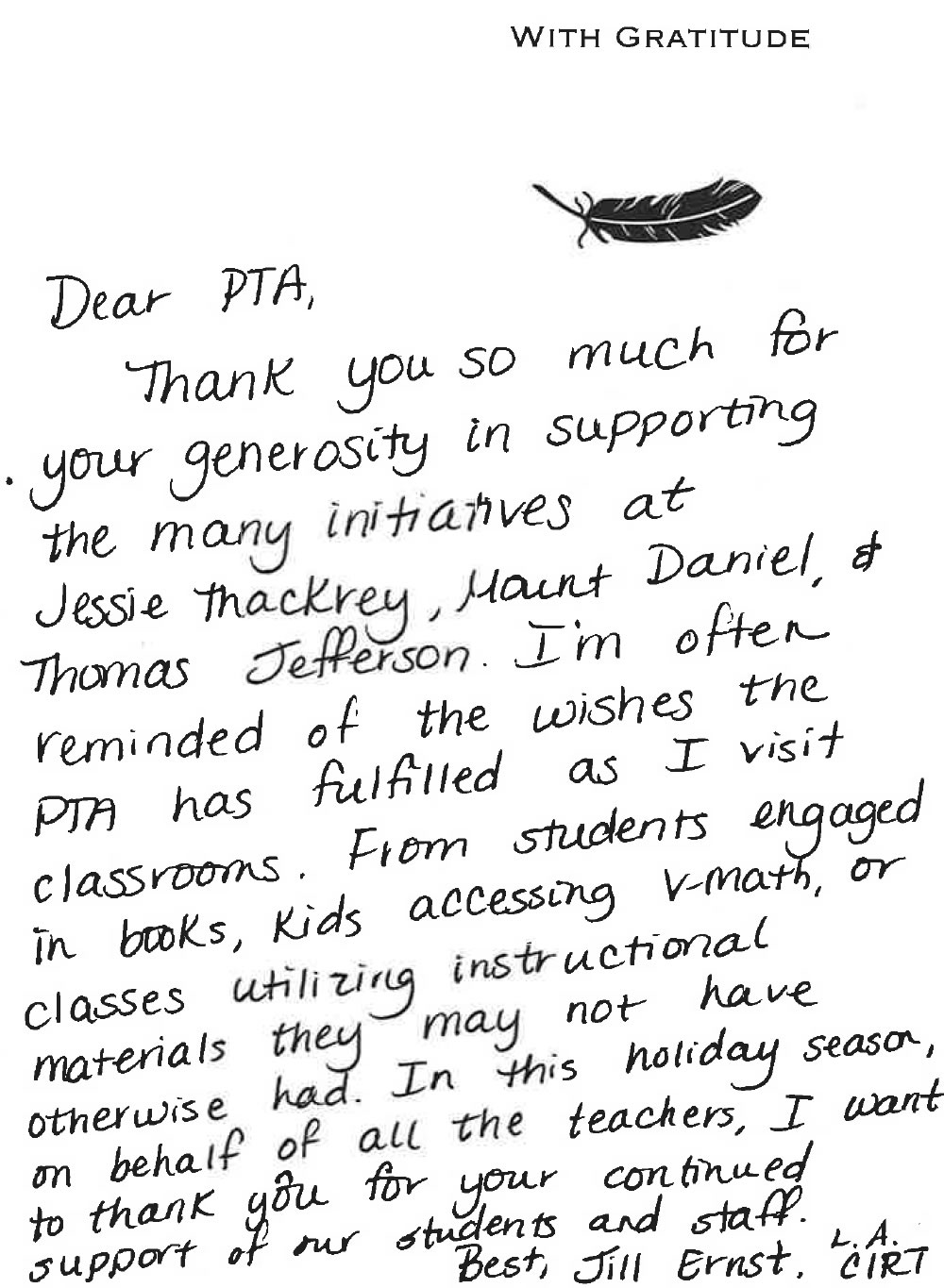 sample thank you letter to parents from teacher  thank